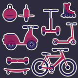 Flat purple and violet cartoon fashion city transport stickers set Royalty Free Stock Image
