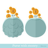 Flat purse or pouch with gold coins Stock Photo