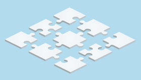 Flat Puzzle in isometric design on blue background Stock Photo