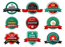 Flat quality guarantee labels Stock Image