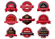 Flat quality product guarantee badges or labels Stock Photography
