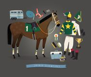Flat race horse and jockey apparel Royalty Free Stock Image