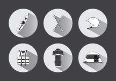Flat rafting icons in black and white with long shadows. Flat rafting vector icons in black and white with long shadows Stock Photography