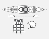 Flat rafting set black and white Stock Photography