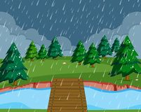 Flat raining nature landscape. Illustration stock illustration