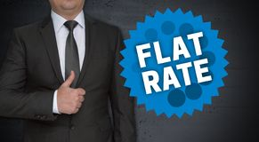 Flat rate concept and businessman with thumbs up stock photo