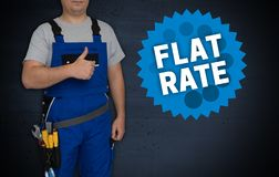 Flat rate and craftsman with thumbs up royalty free stock photography