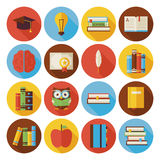 Flat Reading Knowledge and Books Circle Icons Set with long Shad. Ow. Flat Styled Vector Illustrations. Back to School. Science and Education Set. Collection of vector illustration