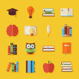 Flat Reading Knowledge and Books Objects Set with Shadow Royalty Free Stock Photography