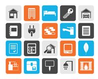 Flat Real Estate and building icons. Vector Icon Set Royalty Free Stock Photo