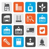 Flat Real  Estate and building icons. Vector Icon Set Royalty Free Stock Image