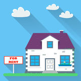 Flat real estate rental. House with a sign for rent. Vector illustration Stock Image
