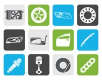 Flat Realistic Car Parts and Services icons. Vector Icon Set 1 Stock Photography