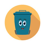 Flat recycling wheelie bin cartoon icon, vector  Royalty Free Stock Image