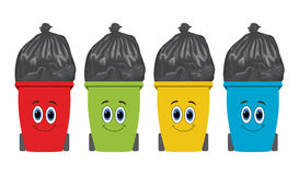 Flat recycling wheelie bins full of rubbish. vector  Stock Photos