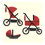 Flat red baby carriage transformer icon. Vector childrens pram 3 in 1 symbol including carriage, stroller and safety car seat. Cute colorful baby girl and boy Stock Images