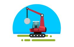Flat red crane with wrecking Royalty Free Stock Photography