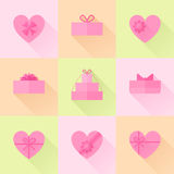Flat red gift box in the form of heart icon set Stock Image