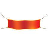 Flat red paper ribbon with text for banner, flyer or web site. I Royalty Free Stock Photo
