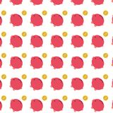 Flat red Piggy bank with gold coin pattern Royalty Free Stock Photos