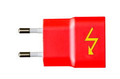 Flat red power plug with yellow flash Royalty Free Stock Photos
