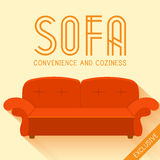 Flat red sofa background vector illustration Stock Photos