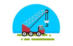 Flat red truck with crane. In a flat style isolated. Heavy machinery for conducting construction works. Crane icon. Element for site, infographics, websites Stock Photo