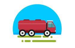 Flat red truck with tank. In a flat style isolated. Heavy machinery for conducting construction works. Truck with tank icon. Element for site, infographics Stock Photo