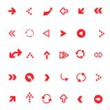 Flat Red Vector Arrows Set. Isolated on white Background Vector Illustration