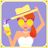 Flat redhair woman wearing yellow retro sunglasses. And hat. Contains EPS10 and high-resolution JPEG royalty free illustration