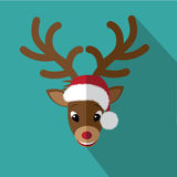 Flat reindeer icon Christmas card Royalty Free Stock Image