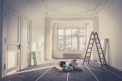 Renovation - apartment during restoration - home improvement stock photos