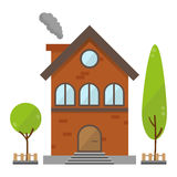 Flat residential brick house building vector Royalty Free Stock Images