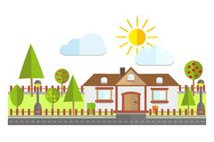 Flat Residential House with fruit trees vector illustration Stock Photo