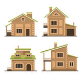 Flat Residential Houses Set. Vector Royalty Free Stock Photos