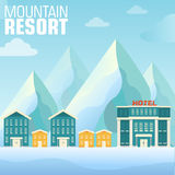 Flat resort mountain concept backgrounds Stock Photo