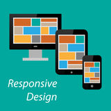Flat responsive design of computer, tablet PC and smart phone Royalty Free Stock Images