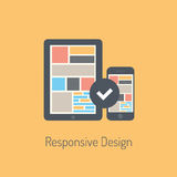 Flat responsive design illustration. Flat design modern vector illustration concept of fully responsive user interface on digital tablet and mobile phone
