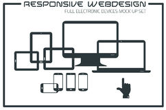 Flat responsive design kit. Of modern electronic gadgets Stock Photography