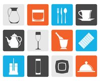 Flat restaurant, cafe, bar and night club icons Stock Photography