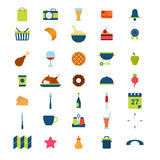 Flat restaurant menu food beverage drink mobile web app icons Royalty Free Stock Photos