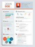 Flat Resume with Infographics. Resume cv set. Vector Stock Photos