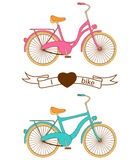 Flat retro bicycle for boy and girl Stock Images