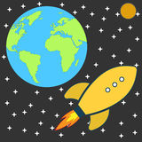 Flat Retro cartoon Rocket Spaceship to the Moon Stock Photo