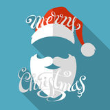 Flat retro Christmas card with long shadow. Stock Images