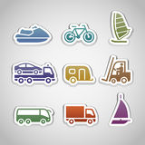 Flat retro color stickers - set eight Stock Photo