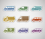 Flat retro color stickers - set five Stock Photo