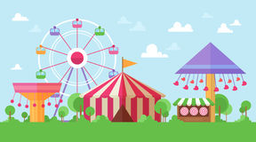 Flat Retro Funfair Scenery with amusement attractions Stock Photo
