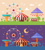 Flat Retro Funfair Scenery with amusement attractions Stock Images