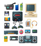Flat retro gadgets of 90s Stock Photography